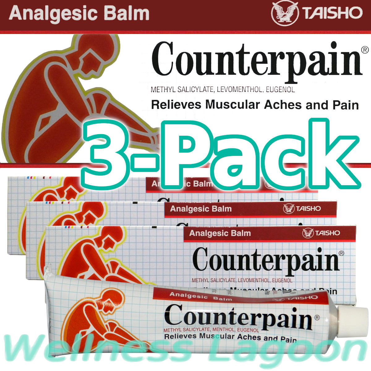 3x Taisho Counterpain Balm Red 120g