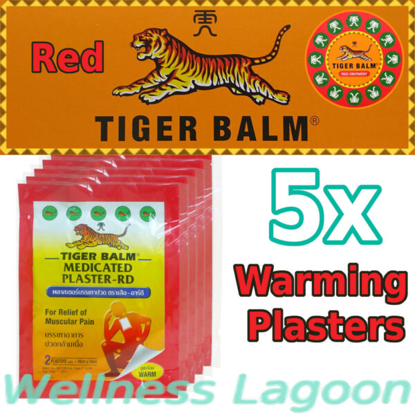 5x Tiger Balm Medicated Plaster Warm (10cm x 14cm)